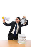 The businessman with papers on the table  on white Stock Photo