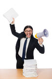 The businessman with papers on the table  on white Royalty Free Stock Photos