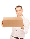 Businessman with parcel Royalty Free Stock Photography