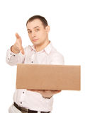 Businessman with parcel Royalty Free Stock Photo