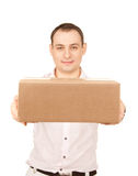 Businessman with parcel Stock Photos
