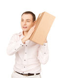 Businessman with parcel royalty free stock images