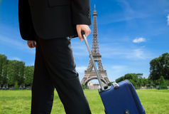 Businessman in paris city Royalty Free Stock Images