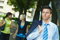 Businessman in park Stock Photography