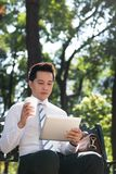 Businessman in the park Royalty Free Stock Photos