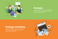 Businessman Partners Shake Hand Partnership, Digital Marketing Strategy Plan Business Web Banner Stock Photo