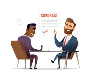 Businessman partnership beginning. Partners signing contract agreement closing deal. Business deal concept illustration. Royalty Free Stock Photography