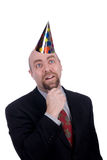 Businessman with party hat Stock Photos