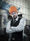 Businessman in party helmet Royalty Free Stock Image