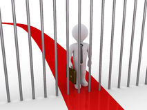 Businessman path is blocked by metal bars. 3d businessman is blocked by metal bars that are on his path Royalty Free Stock Images