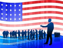Businessman on Patriotic American Flag background Stock Image