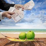 Businessman pay for coconut and spadix flower of coconut on deck. Businessman pay for coconut and spadix flower of coconut on wooden deck and sea background Royalty Free Stock Images
