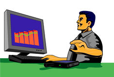Businessman with pc. Illustration of a businessman looking at a sales graph on computer royalty free illustration