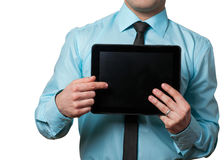 Businessman and PC tablet royalty free stock photography