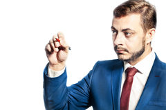 Businessman with pen Royalty Free Stock Images