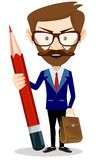 Businessman with pencil, vector illustration Stock Image