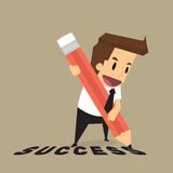 Businessman with pencil writing success Royalty Free Stock Images