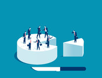 Businessman people standing on cake. Concept business illustration. Vector Stock Photos