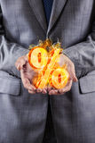 The businessman with percent sign in high interest concept Royalty Free Stock Images