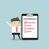 Businessman with performance check list. Vector illustration Royalty Free Stock Photos