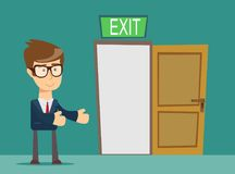 Businessman person and a open door. vector illustration