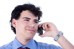 Businessman on the phone. Isolated on white, studio shot Royalty Free Stock Image