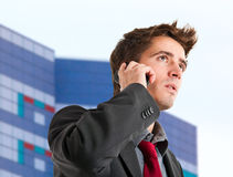 Businessman at phone Stock Photography
