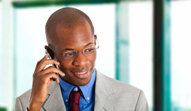 Businessman at phone Royalty Free Stock Photo