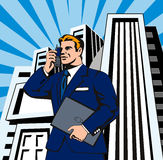 Businessman on the phone. 1930s style vector illustration of a man in a suit talking on his phone with skyscaper backround vector illustration
