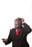 Businessman on the phone. Over a white background royalty free stock photo