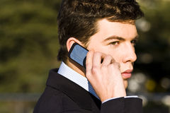 Businessman at phone Royalty Free Stock Photography