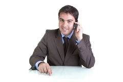 Businessman on phone royalty free stock photo