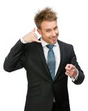 Businessman phone gesturing points with finger Stock Image