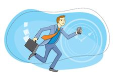 Businessman with phone in hand running Stock Images