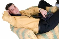Businessman phone home Stock Photography