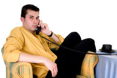 Businessman phone home Royalty Free Stock Photos