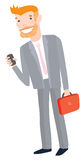 Businessman with Phone and Laptop. Stylish Businessman in a Suit Holding Mobile Phone and Laptop Stock Photos