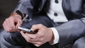 Businessman with phone stock footage