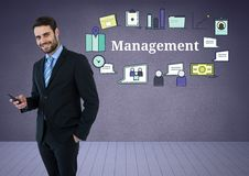 Businessman with phone and Management text with drawings graphics. Digital composite of Businessman with phone and Management text with drawings graphics Stock Photography