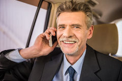 Businessman with phone Stock Images