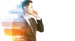 Businessman on the phone multiexposure stock image