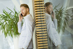 Businessman. On the phone in the office Royalty Free Stock Photos