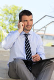 Businessman on the phone outdoor Stock Photography