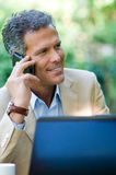Businessman on the phone outdoor Royalty Free Stock Photos