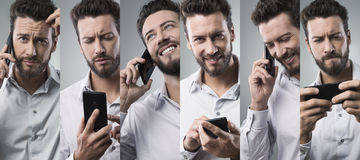 Businessman on the phone, photo collage Stock Images