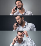 Businessman on the phone, photo collage Royalty Free Stock Images