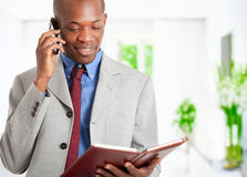 Businessman at phone reading agenda Royalty Free Stock Photo