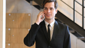 Businessman Phone Talk in Office, Work Stock Photo