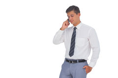 Businessman on the phone. On white background Stock Images