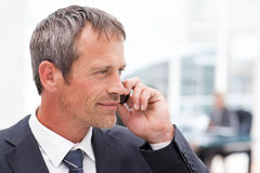 Businessman phoning in his office Stock Photo